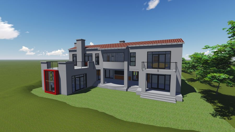 Architecture House 34 royalty-free 3d model - Preview no. 2