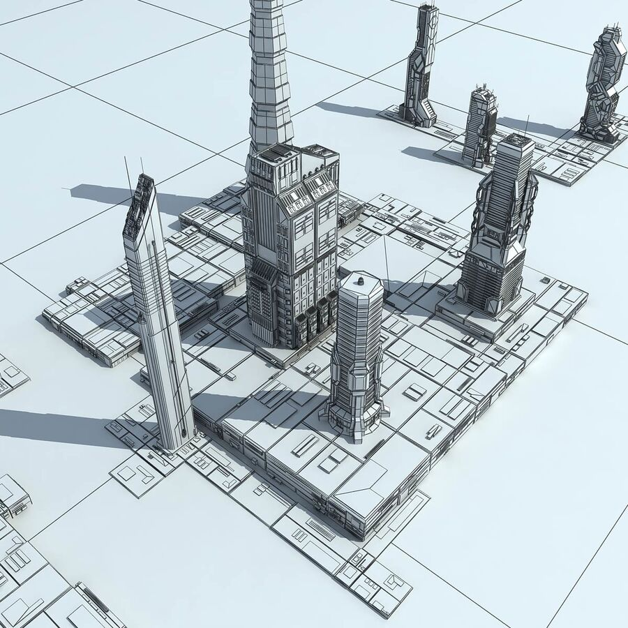 Sci-Fi City Futuristic Buildings royalty-free 3d model - Preview no. 34
