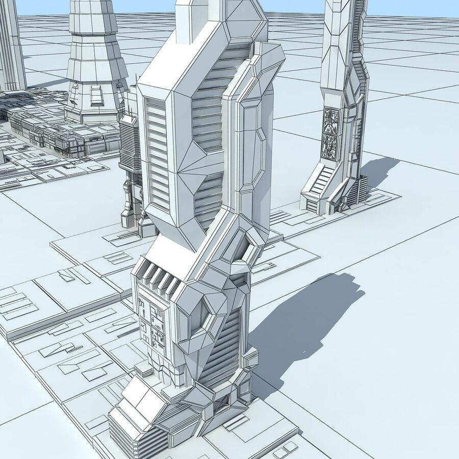 Sci-Fi City Futuristic Buildings royalty-free 3d model - Preview no. 28