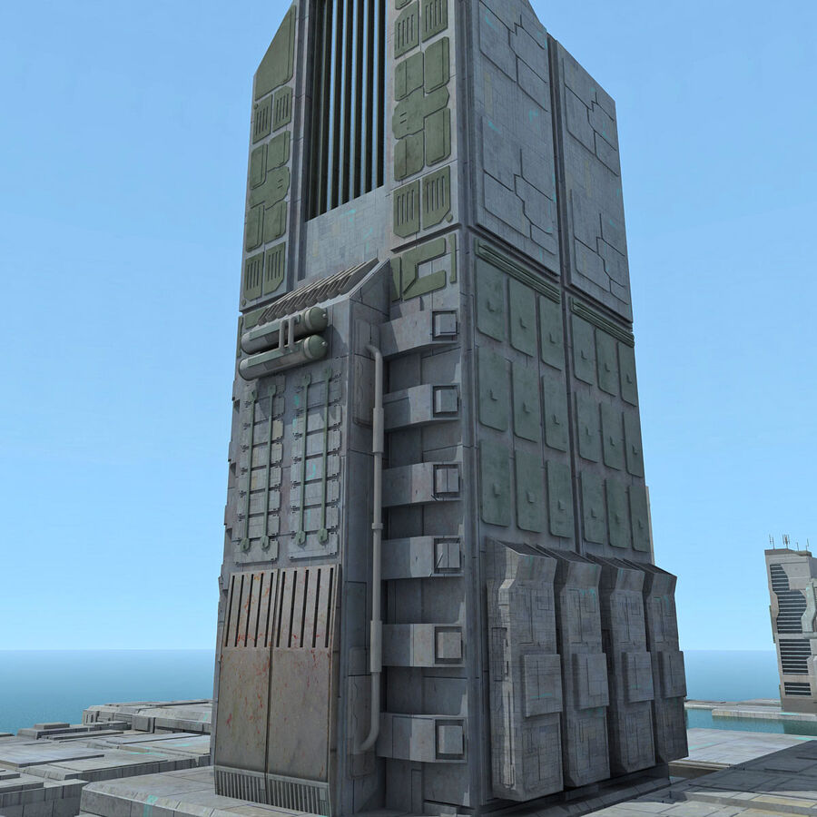 Sci-Fi City Futuristic Buildings royalty-free 3d model - Preview no. 5