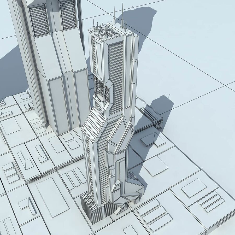 Sci-Fi City Futuristic Buildings royalty-free 3d model - Preview no. 29
