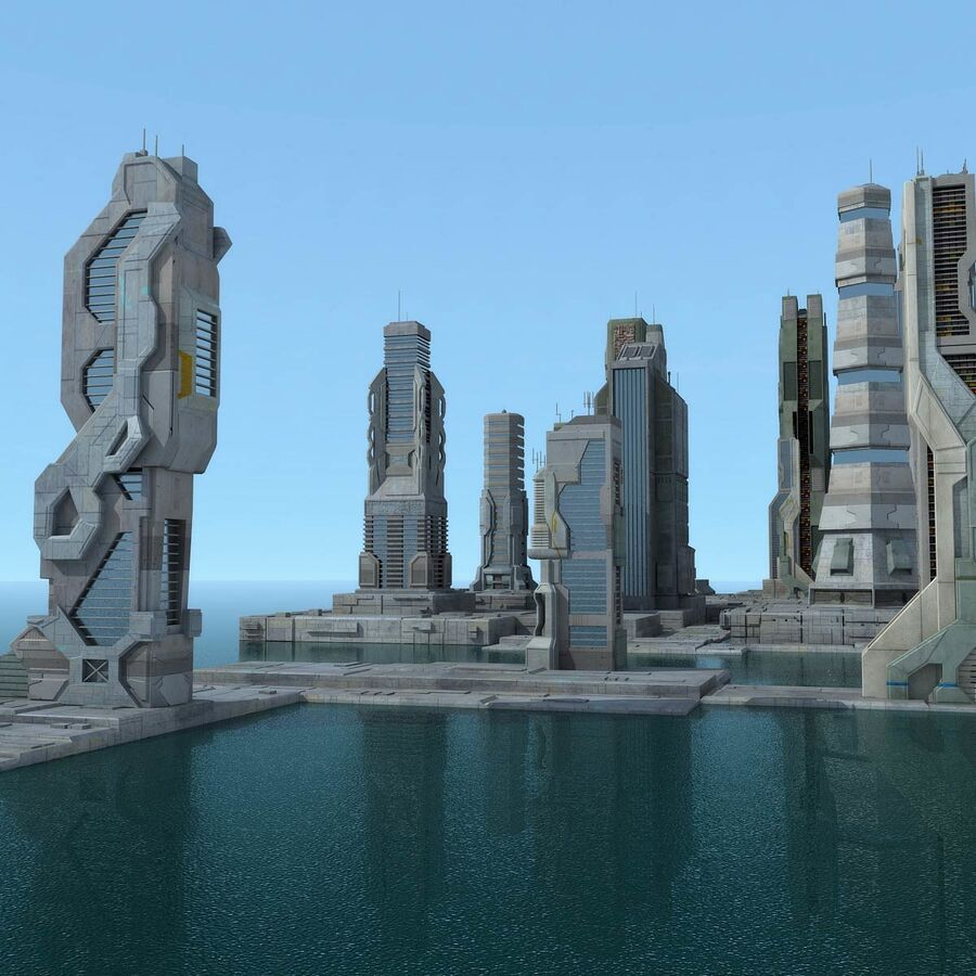 Sci-Fi City Futuristic Buildings royalty-free 3d model - Preview no. 1