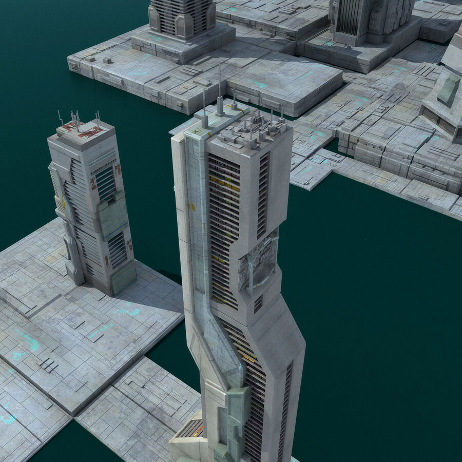 Sci-Fi City Futuristic Buildings royalty-free 3d model - Preview no. 19