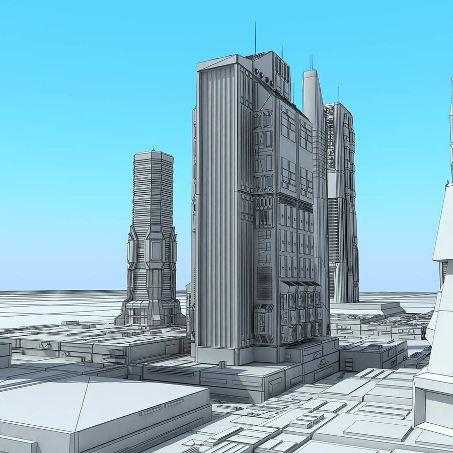 Sci-Fi City Futuristic Buildings royalty-free 3d model - Preview no. 25