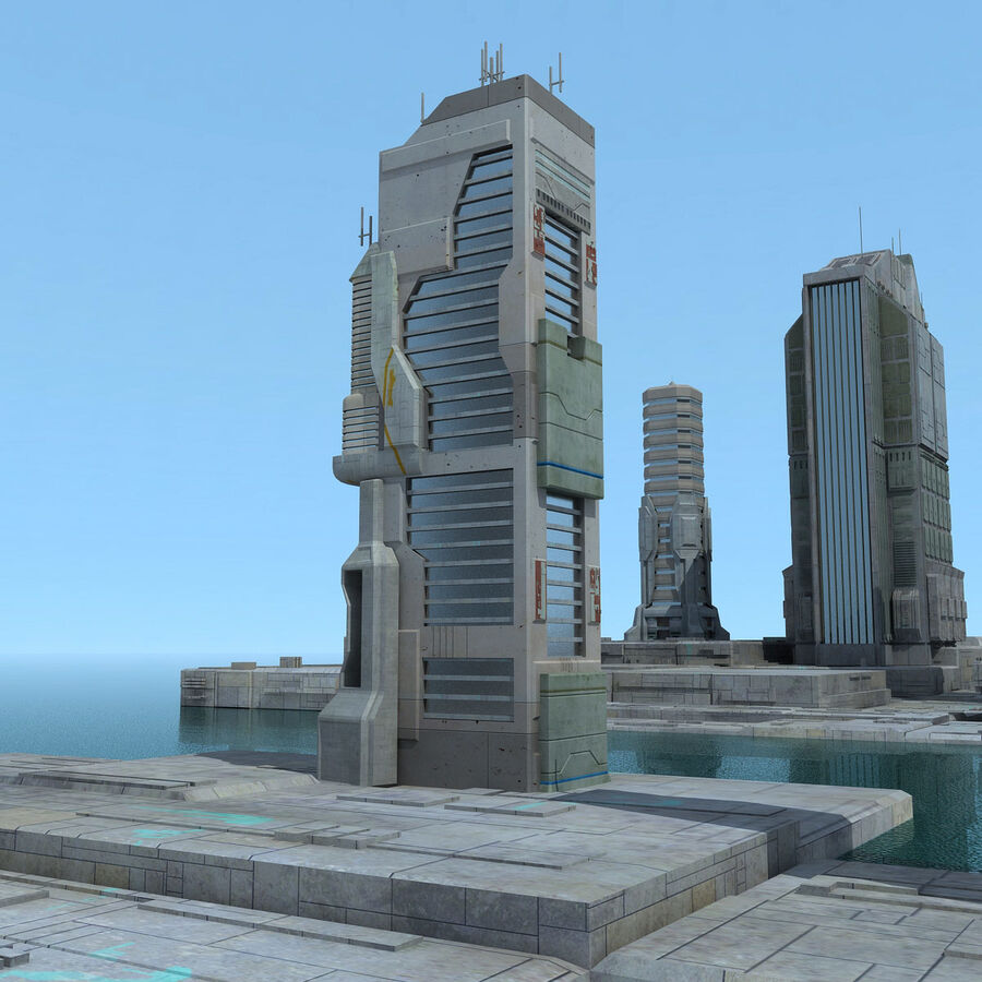 Sci-Fi City Futuristic Buildings royalty-free 3d model - Preview no. 16