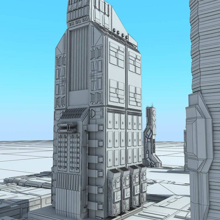 Sci-Fi City Futuristic Buildings royalty-free 3d model - Preview no. 24