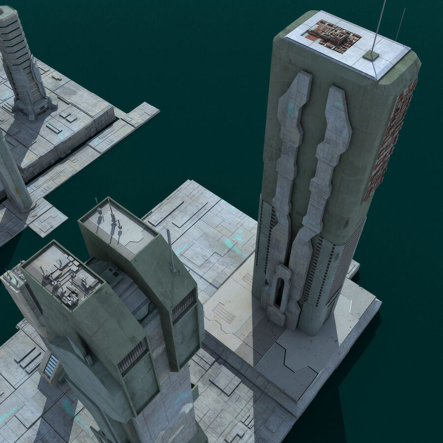 Sci-Fi City Futuristic Buildings royalty-free 3d model - Preview no. 20