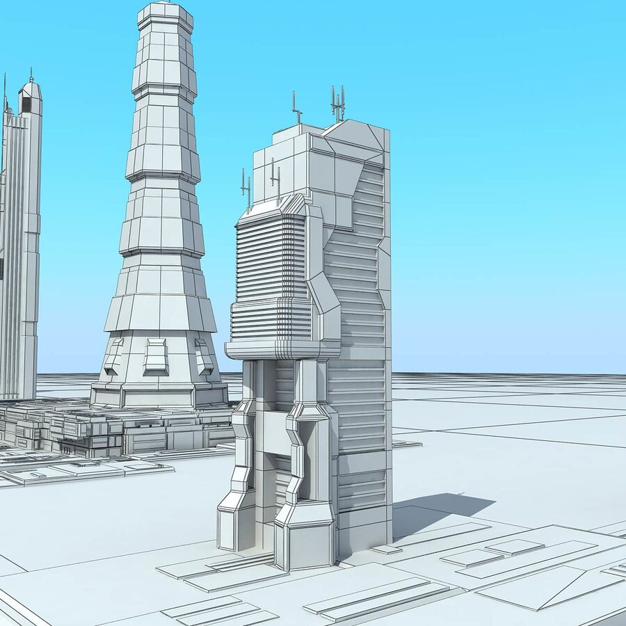 Sci-Fi City Futuristic Buildings royalty-free 3d model - Preview no. 31