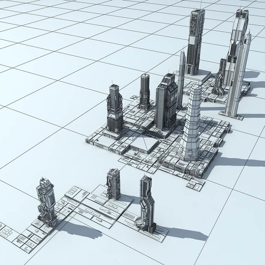 Sci-Fi City Futuristic Buildings royalty-free 3d model - Preview no. 33