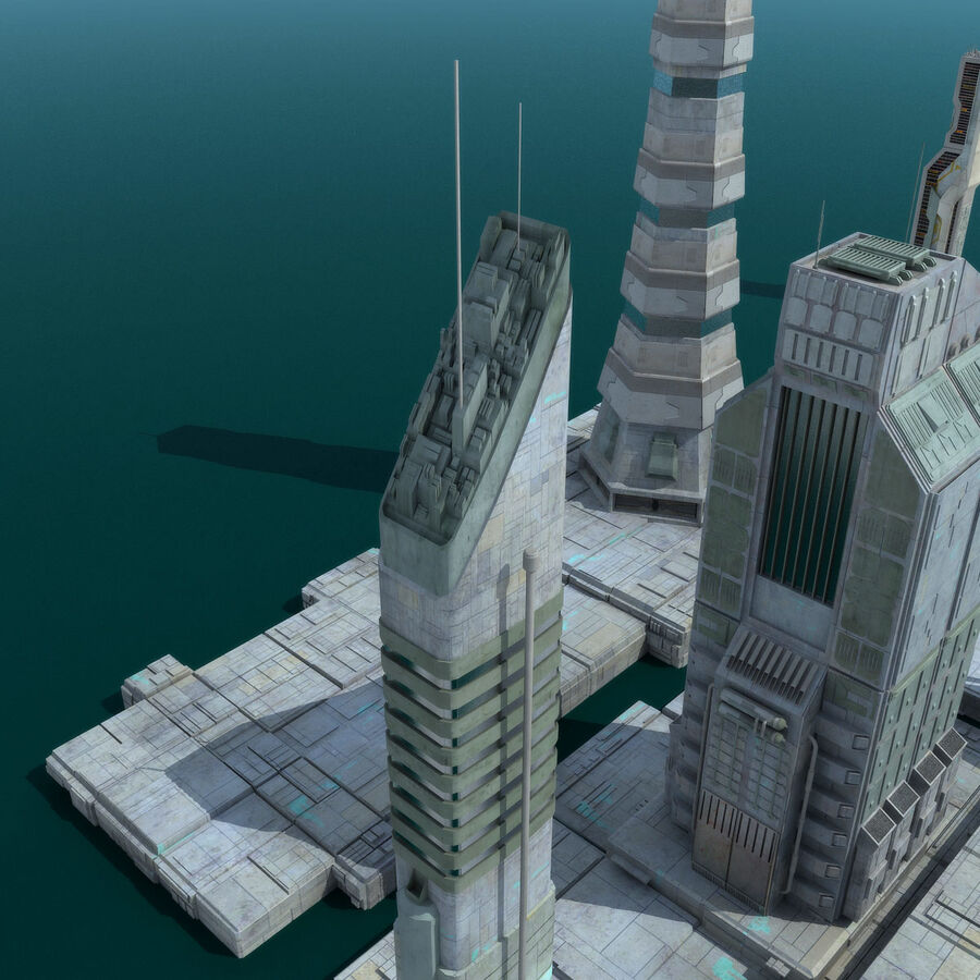 Sci-Fi City Futuristic Buildings royalty-free 3d model - Preview no. 21