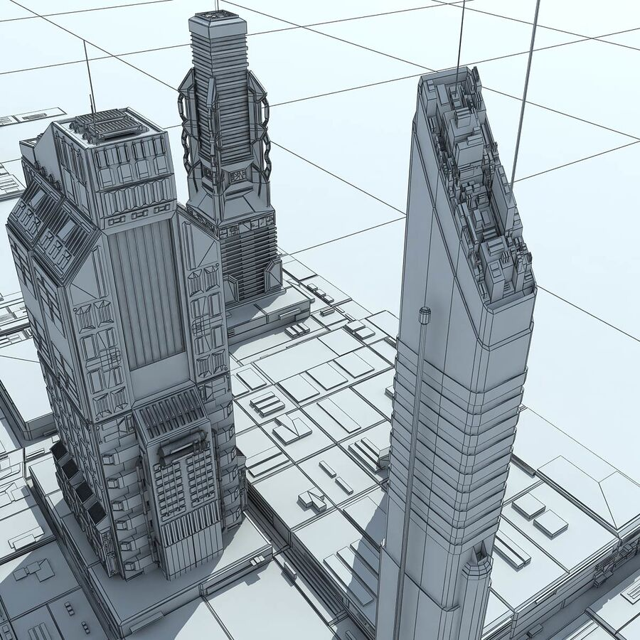 Sci-Fi City Futuristic Buildings royalty-free 3d model - Preview no. 27
