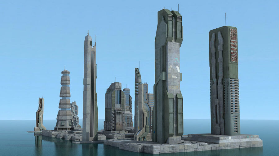 Sci-Fi City Futuristic Buildings royalty-free 3d model - Preview no. 9