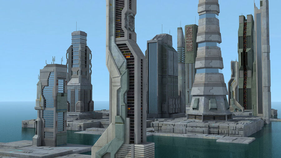 Sci-Fi City Futuristic Buildings royalty-free 3d model - Preview no. 8