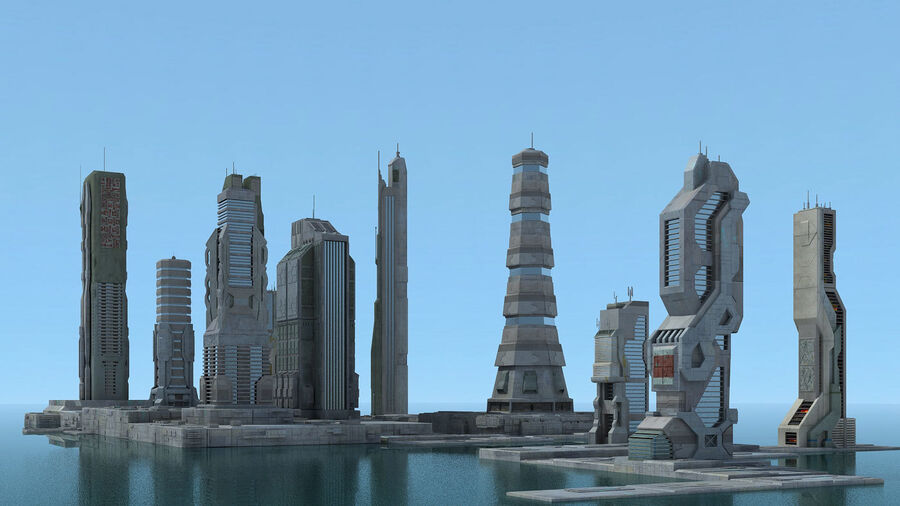 Sci-Fi City Futuristic Buildings royalty-free 3d model - Preview no. 7