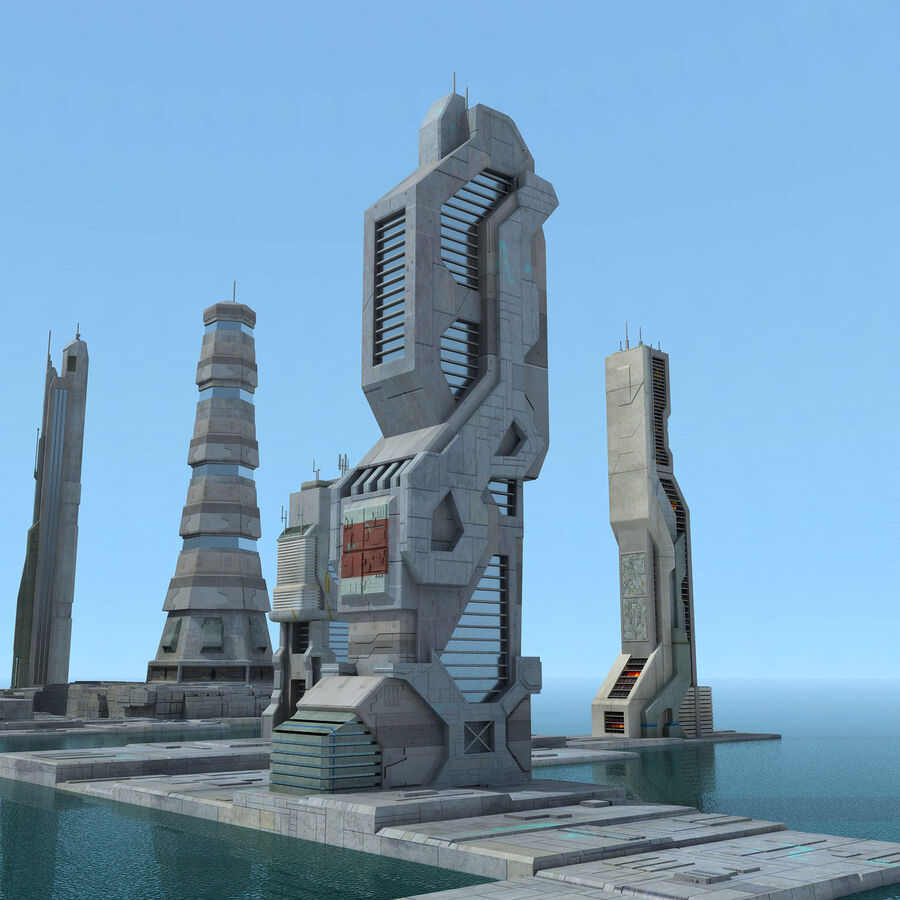 Sci-Fi City Futuristic Buildings royalty-free 3d model - Preview no. 14