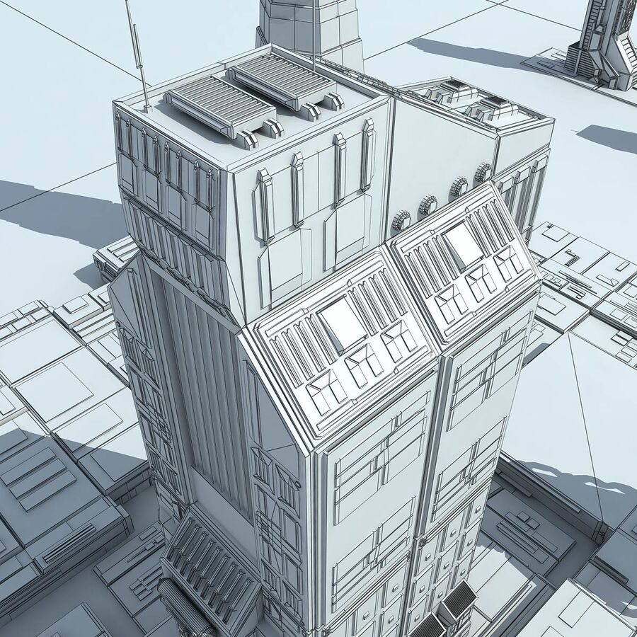 Sci-Fi City Futuristic Buildings royalty-free 3d model - Preview no. 26