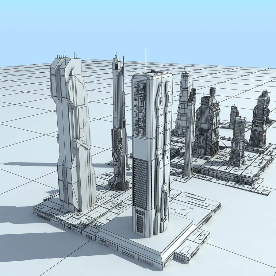 Sci-Fi City Futuristic Buildings royalty-free 3d model - Preview no. 32