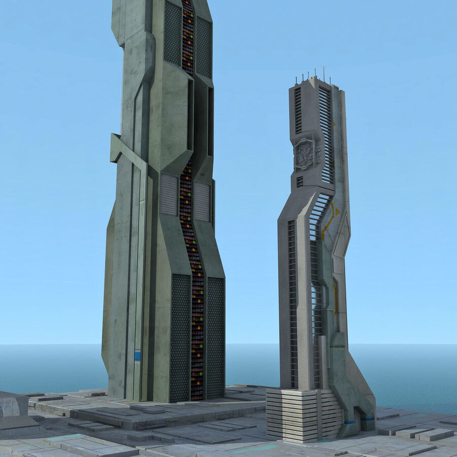 Sci-Fi City Futuristic Buildings royalty-free 3d model - Preview no. 17