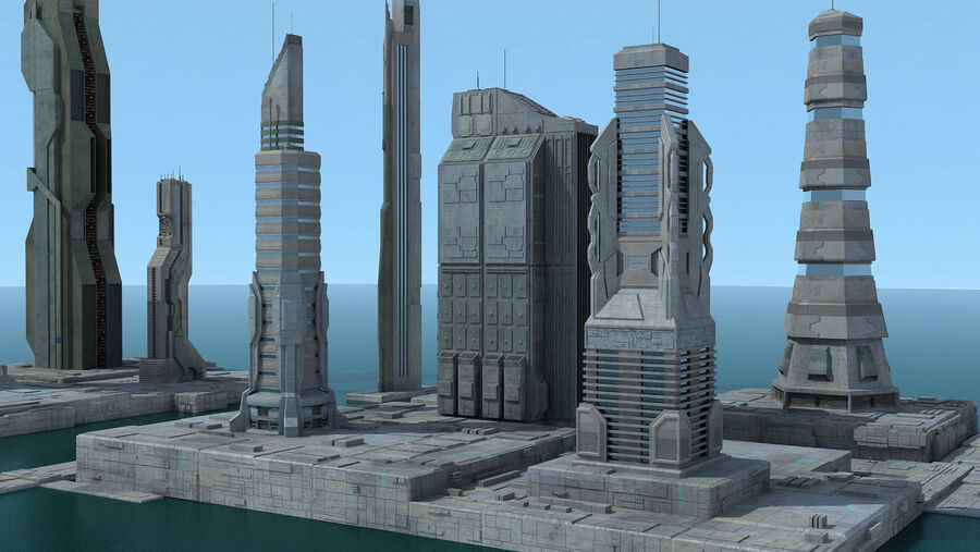 Sci-Fi City Futuristic Buildings royalty-free 3d model - Preview no. 12