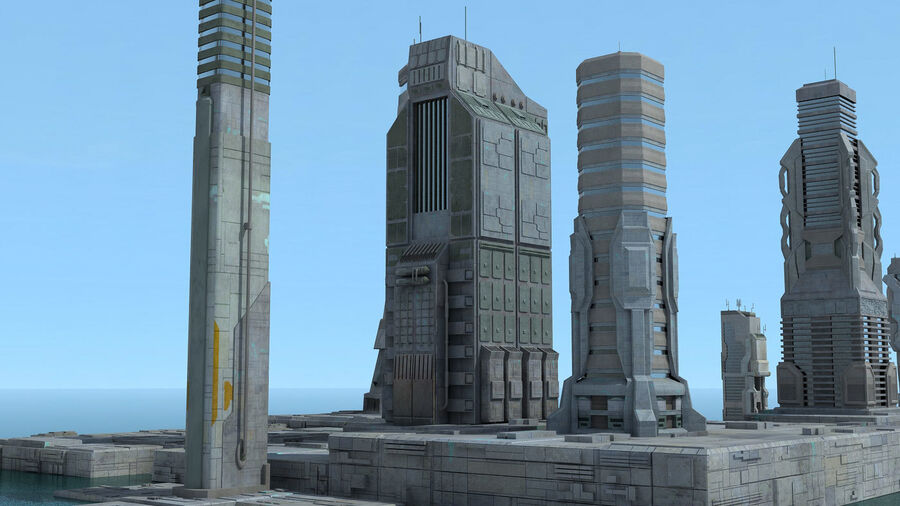 Sci-Fi City Futuristic Buildings royalty-free 3d model - Preview no. 11