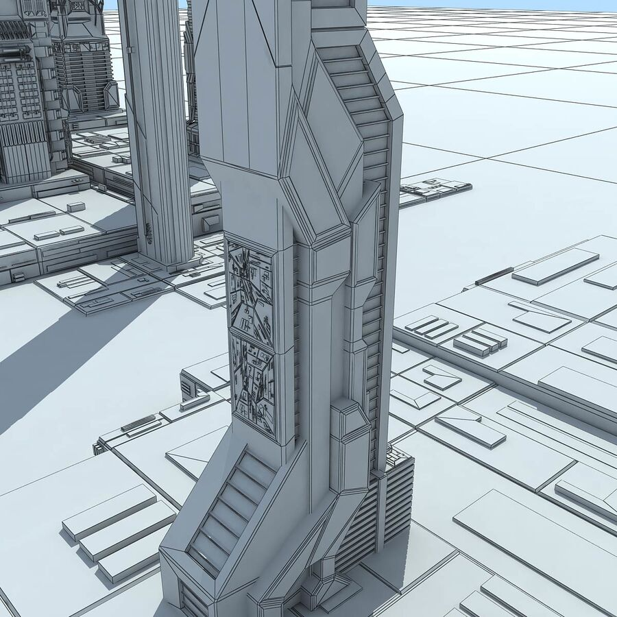 Sci-Fi City Futuristic Buildings royalty-free 3d model - Preview no. 30