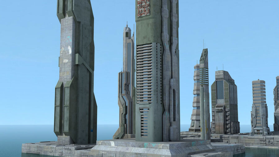 Sci-Fi City Futuristic Buildings royalty-free 3d model - Preview no. 13
