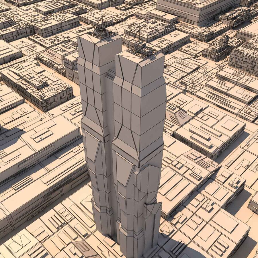 Sci-Fi City Futuristic Buildings royalty-free 3d model - Preview no. 22