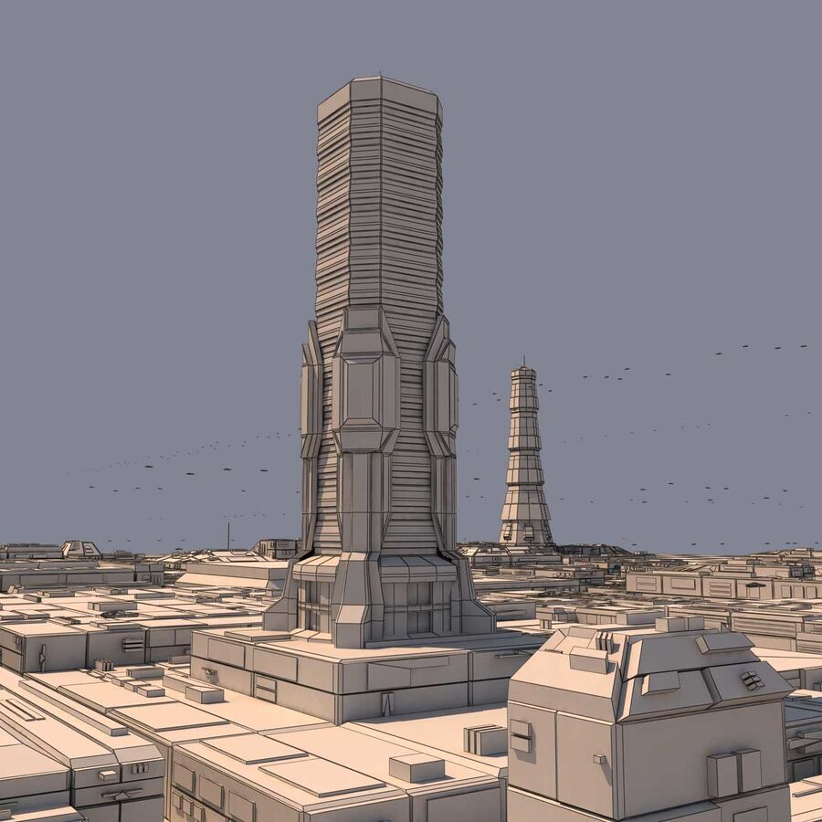 Sci-Fi City Futuristic Buildings royalty-free 3d model - Preview no. 23