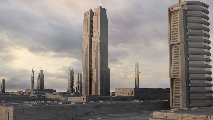Sci-Fi City Futuristic Buildings royalty-free 3d model - Preview no. 4