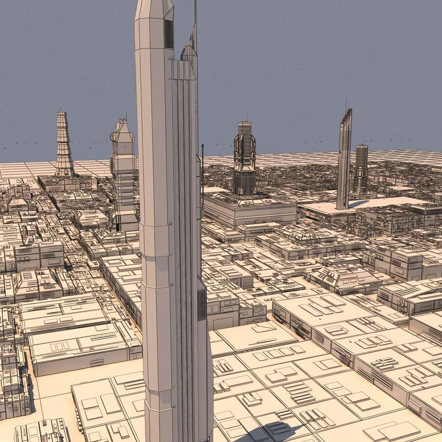 Sci-Fi City Futuristic Buildings royalty-free 3d model - Preview no. 18