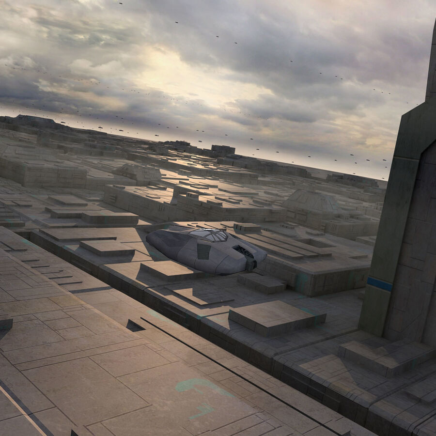 Sci-Fi City Futuristic Buildings royalty-free 3d model - Preview no. 10