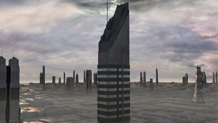 Sci-Fi City Futuristic Buildings royalty-free 3d model - Preview no. 15