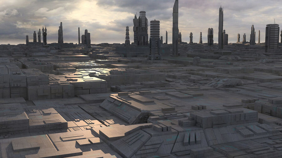 Sci-Fi City Futuristic Buildings royalty-free 3d model - Preview no. 6