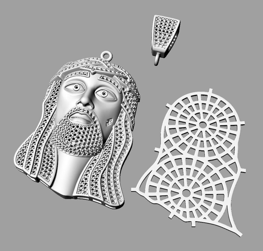 Jesus pendant royalty-free 3d model - Preview no. 3