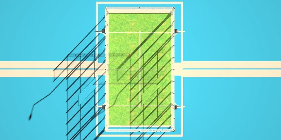 Pista de tenis Padel royalty-free modelo 3d - Preview no. 3