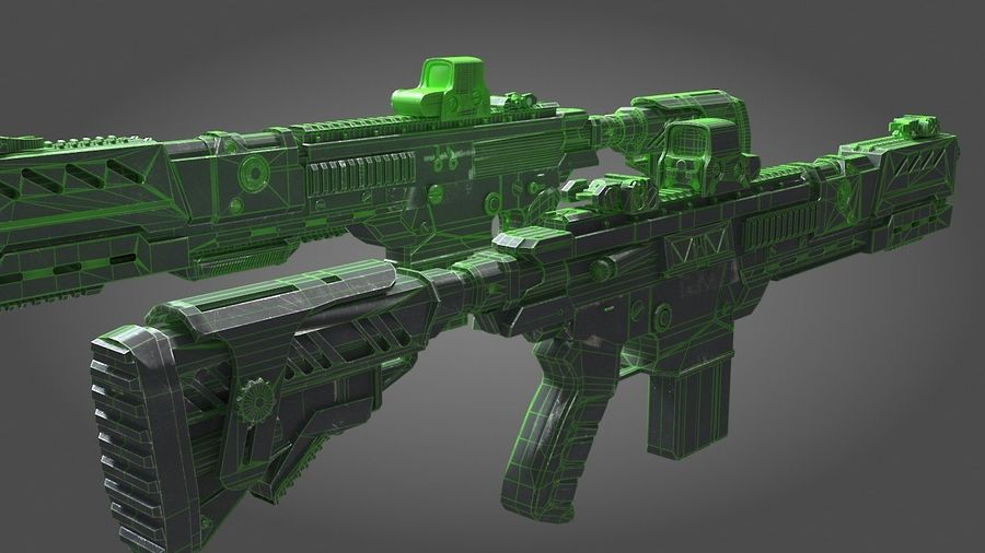 Scifi weapon royalty-free 3d model - Preview no. 4
