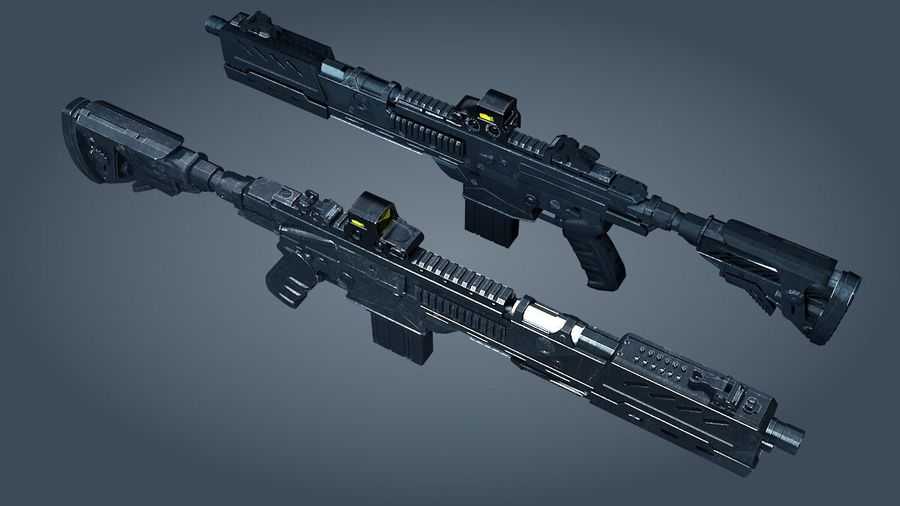 Scifi weapon royalty-free 3d model - Preview no. 1