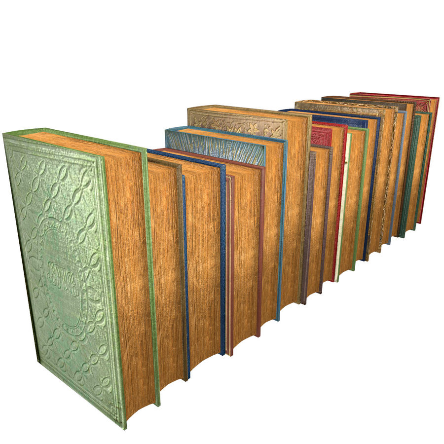 Books Old Collection 1 Low Poly royalty-free 3d model - Preview no. 21