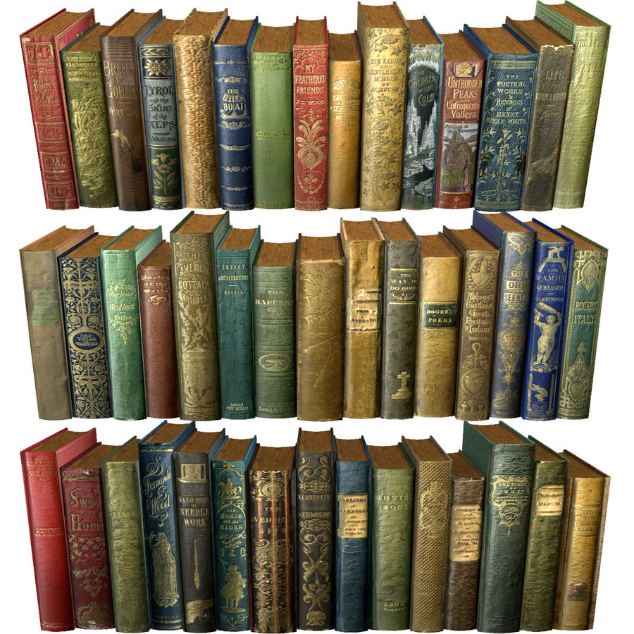 Books Old Collection 1 Low Poly royalty-free 3d model - Preview no. 1