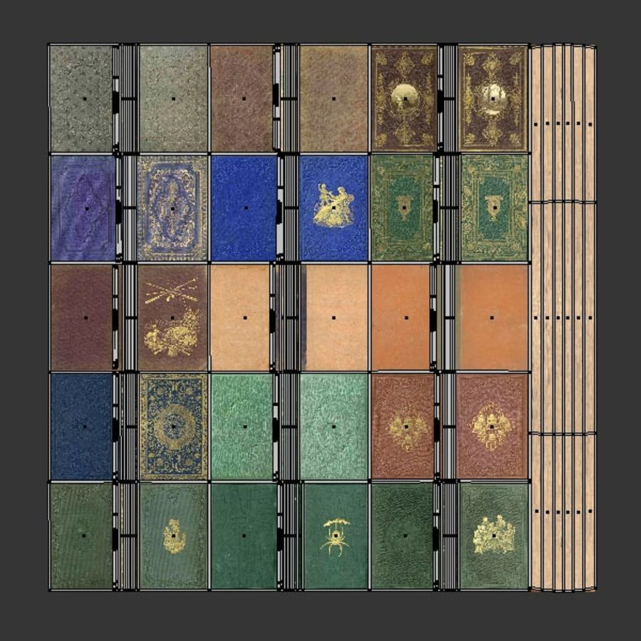 Books Old Collection 1 Low Poly royalty-free 3d model - Preview no. 29