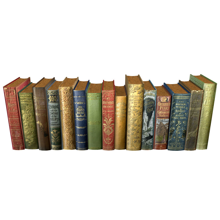 Books Old Collection 1 Low Poly royalty-free 3d model - Preview no. 19