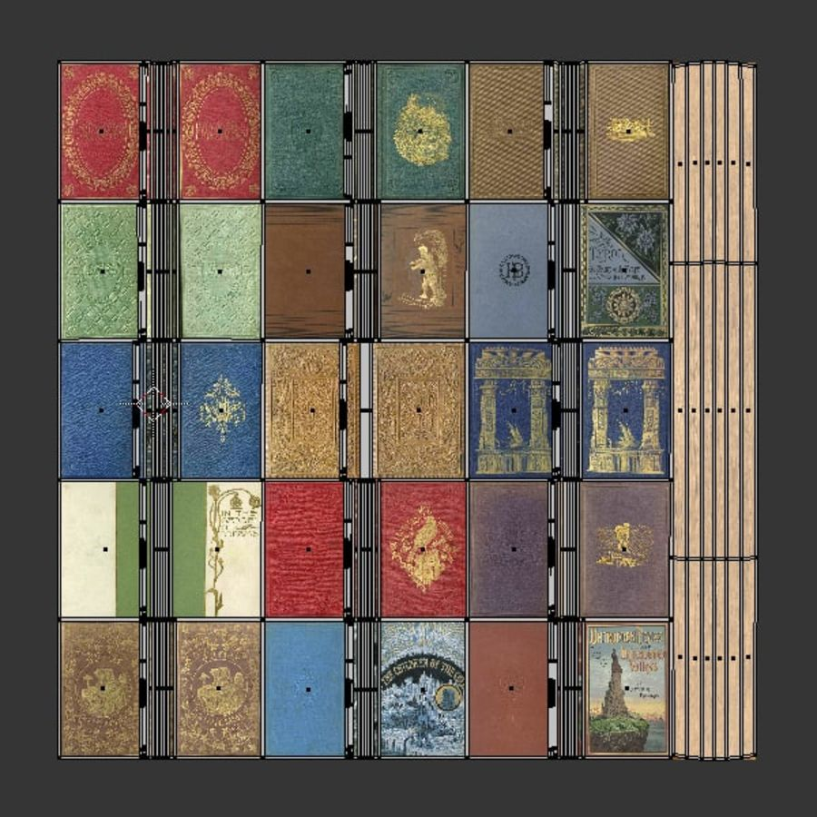 Books Old Collection 1 Low Poly royalty-free 3d model - Preview no. 31