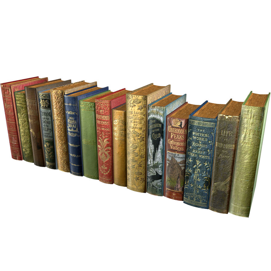 Books Old Collection 1 Low Poly royalty-free 3d model - Preview no. 17