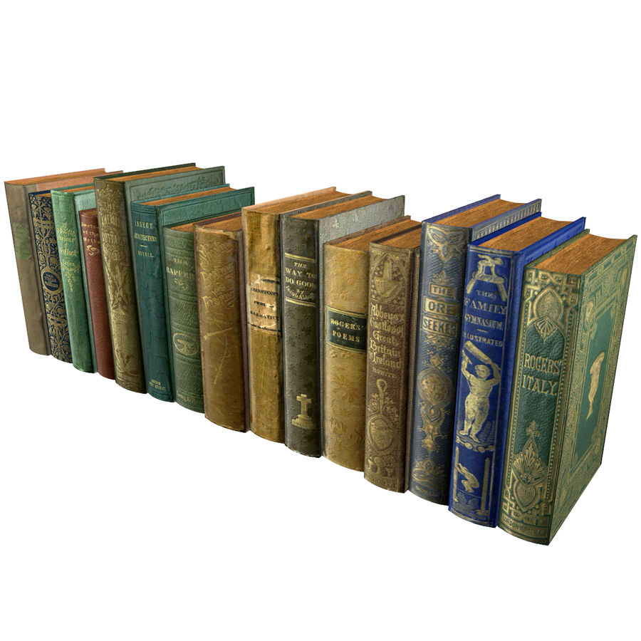 Books Old Collection 1 Low Poly royalty-free 3d model - Preview no. 9