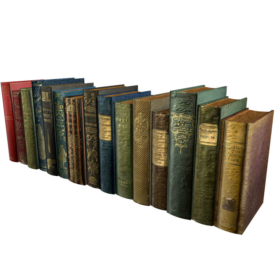 Books Old Collection 1 Low Poly royalty-free 3d model - Preview no. 2