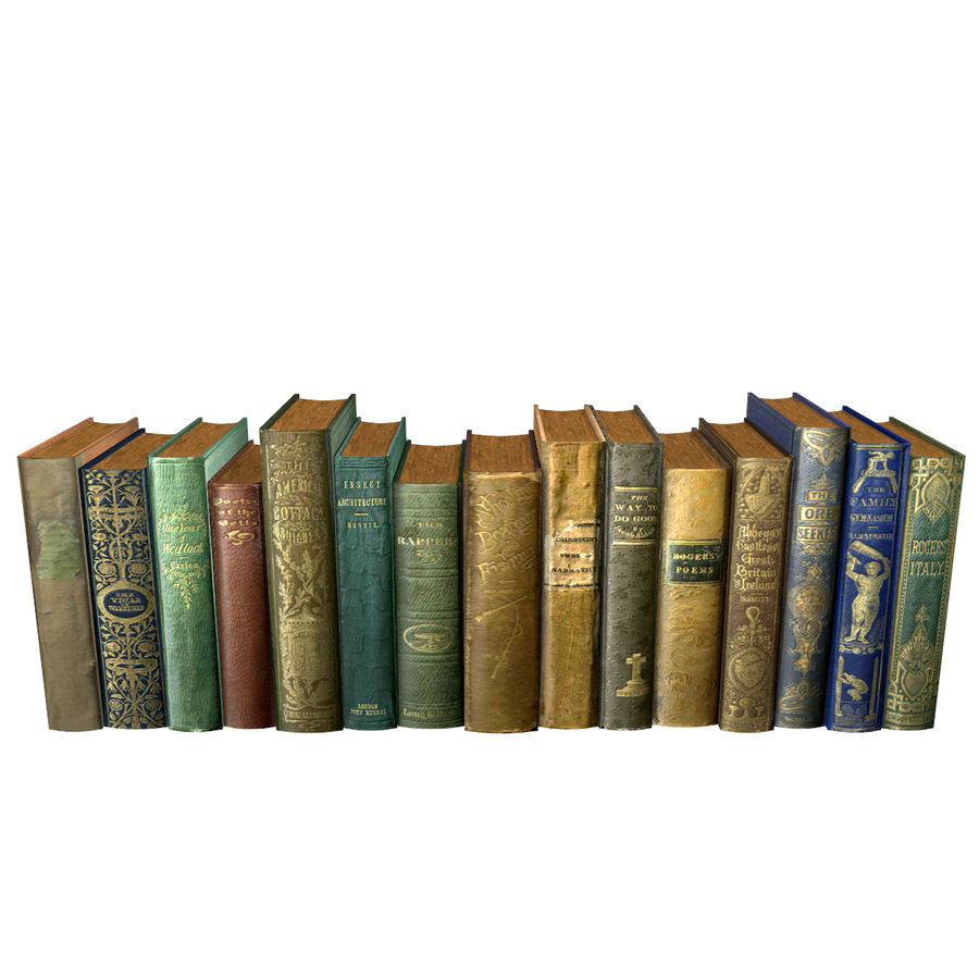 Books Old Collection 1 Low Poly royalty-free 3d model - Preview no. 11