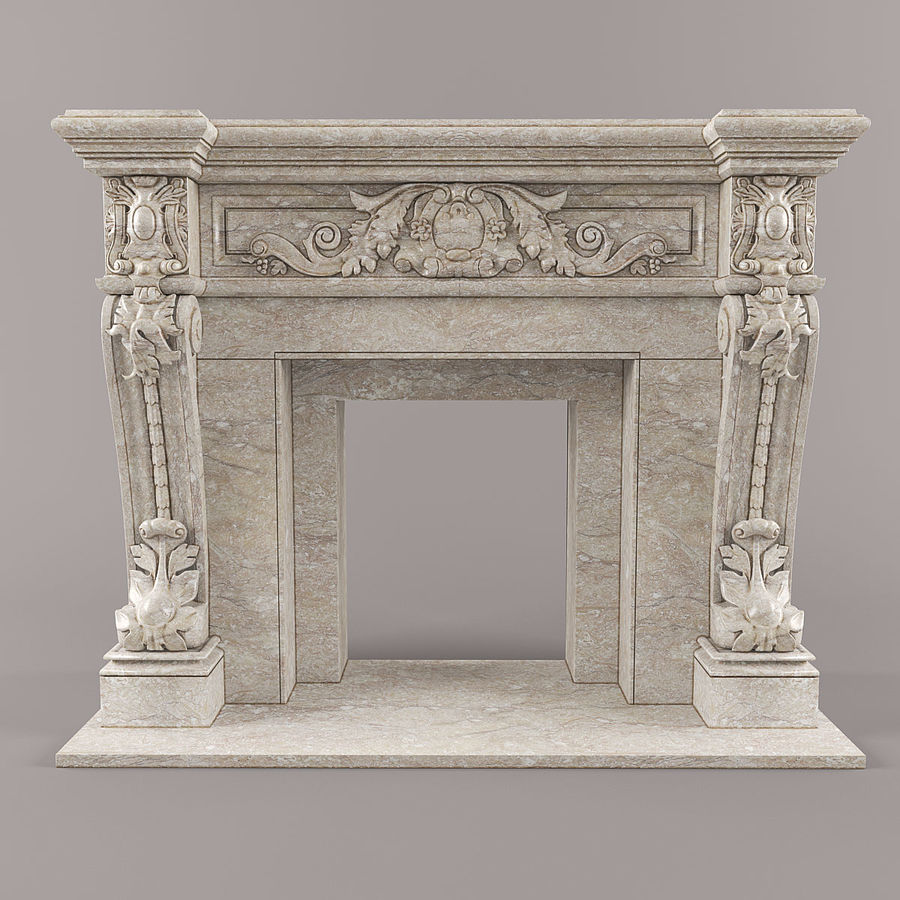fireplace royalty-free 3d model - Preview no. 7