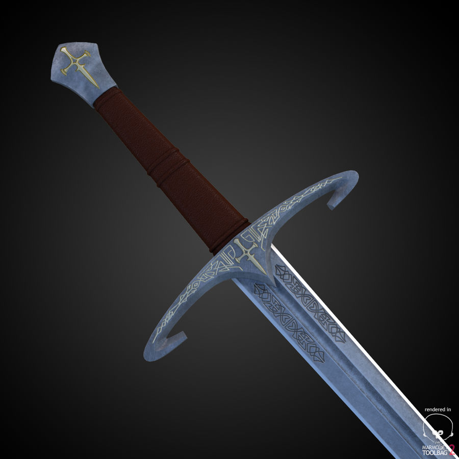Medieval Sword royalty-free 3d model - Preview no. 3