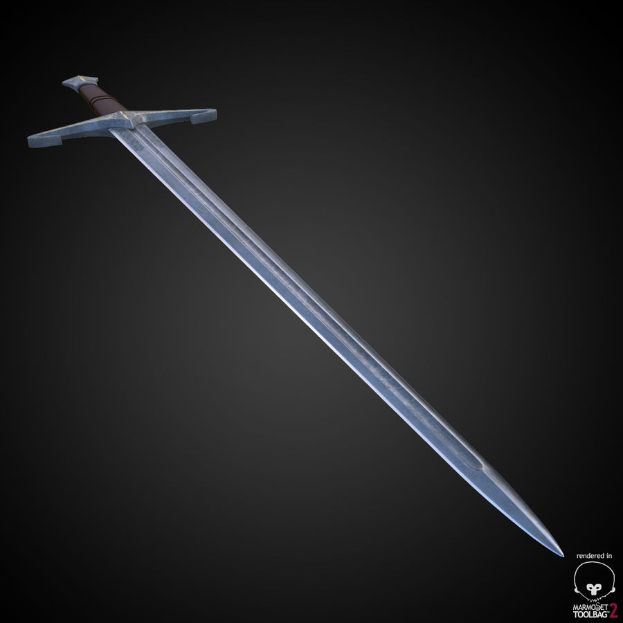 Medieval Sword royalty-free 3d model - Preview no. 4