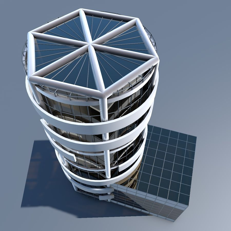 Round building flat skyscraper architecture royalty-free 3d model - Preview no. 5